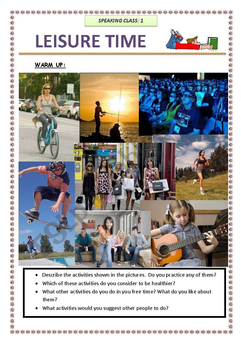 3 PAGES OF SPEAKING ACTIVITIES  - LEISURE TIME