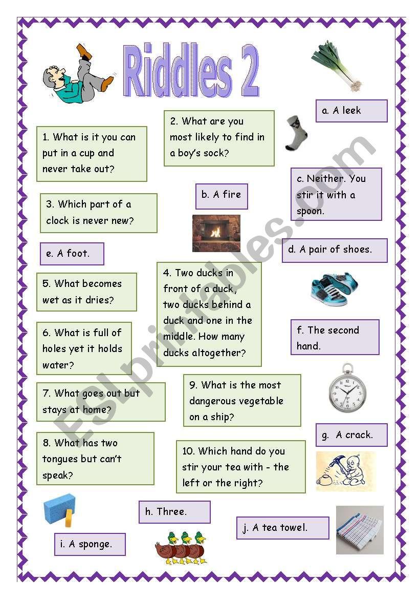 Riddles 2 worksheet