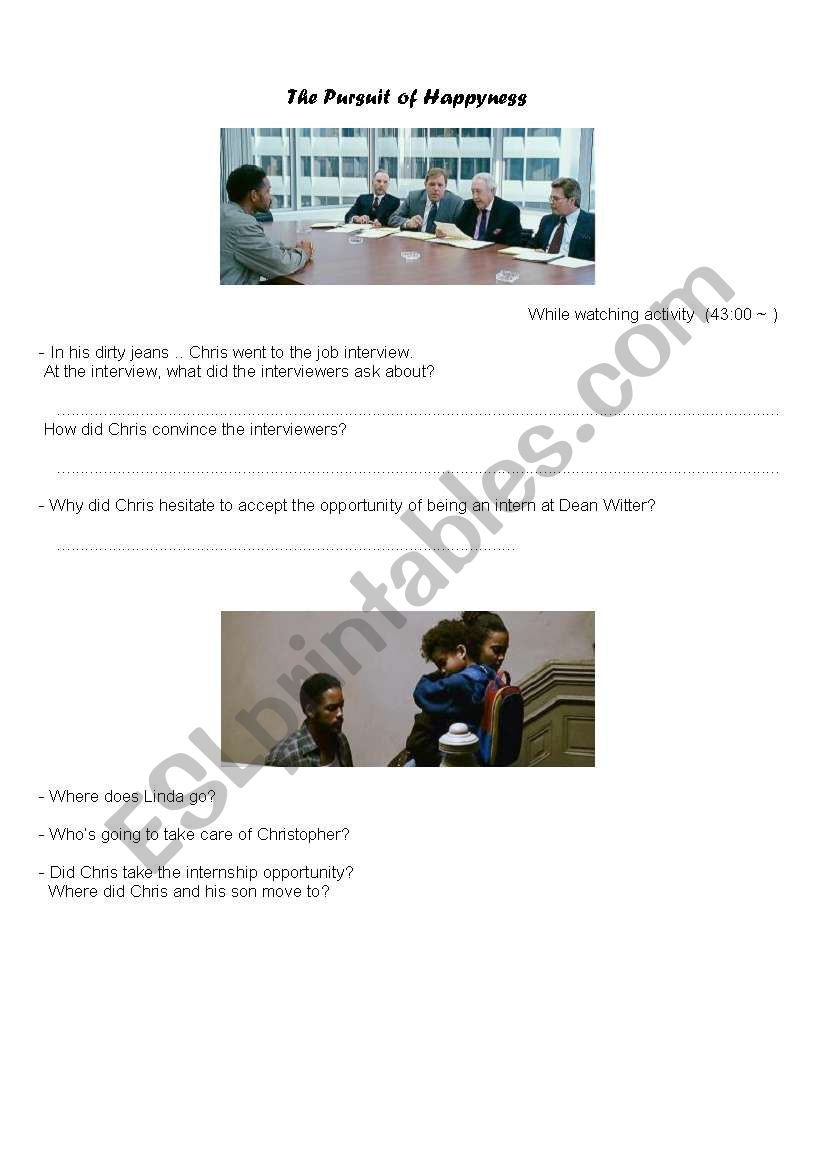 The pursuit of Happyness - after watching activity (1/2)