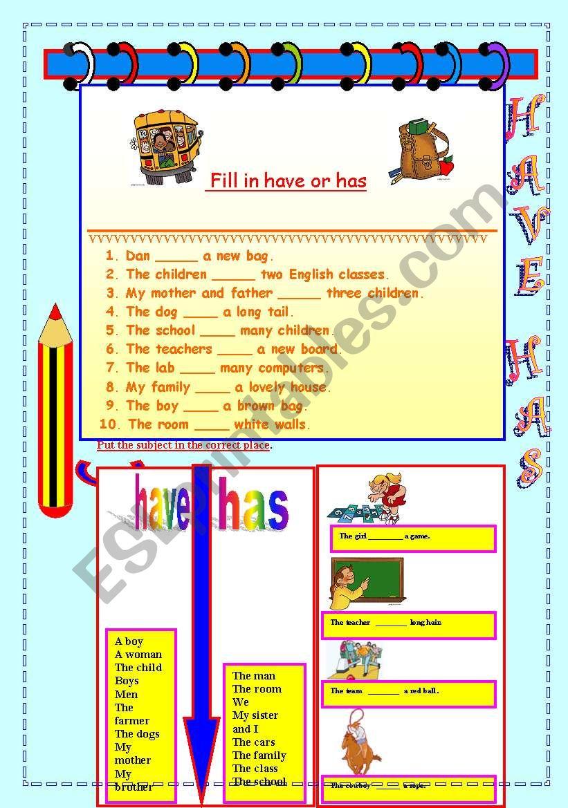 Have Has Worksheet Esl Worksheet By Moma