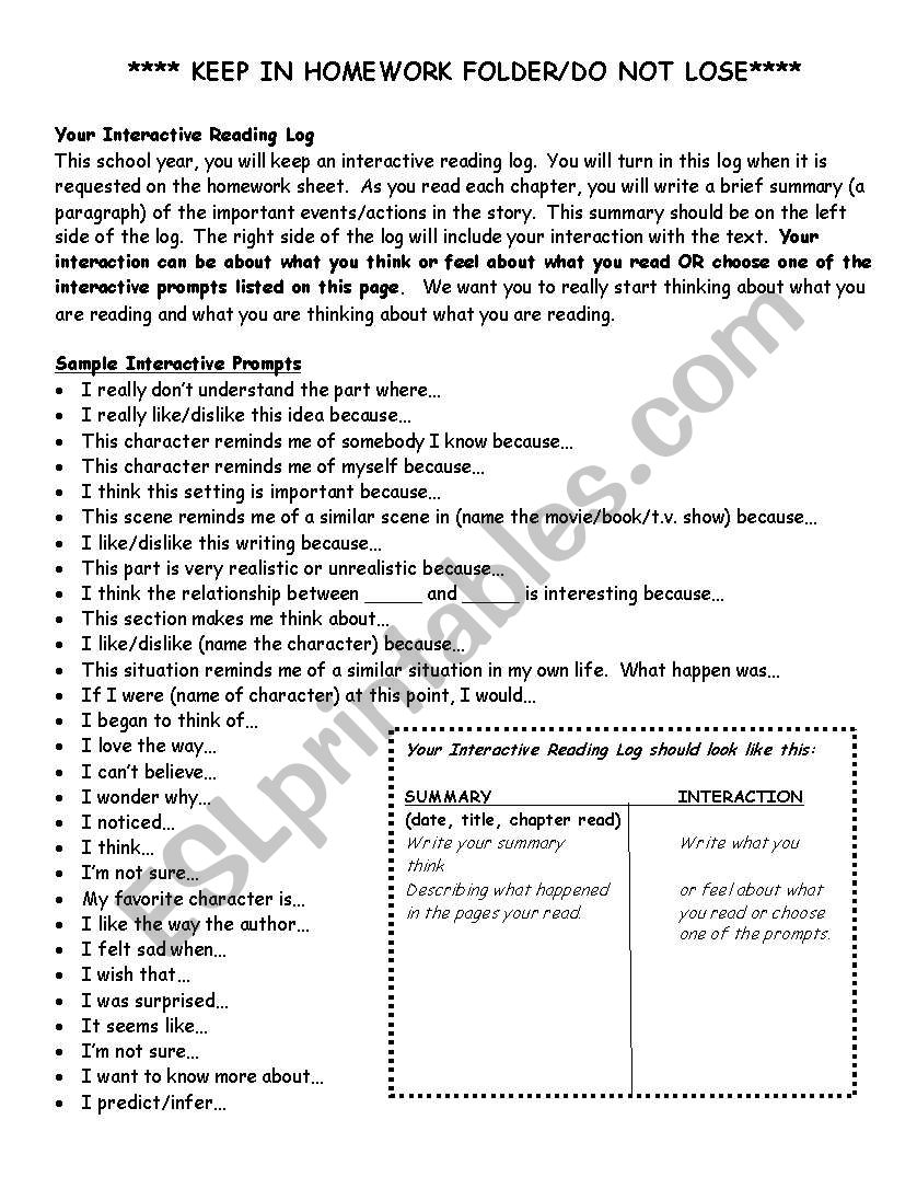 Interactive Reading Log worksheet