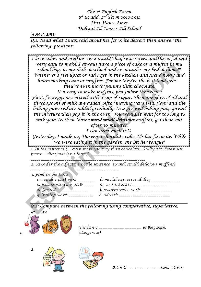 8th grade grammar worksheets with answer key