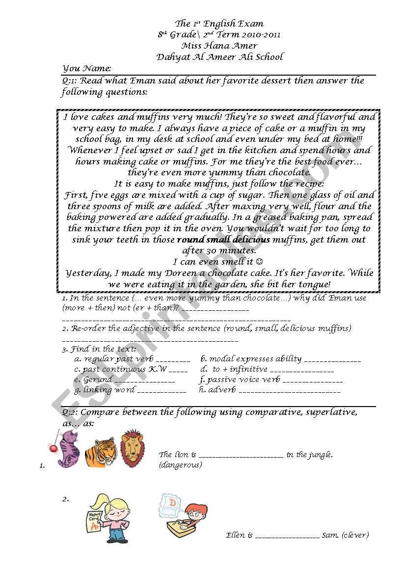 8th Grade Exam (Grammar) - ESL worksheet by DeGeneres
