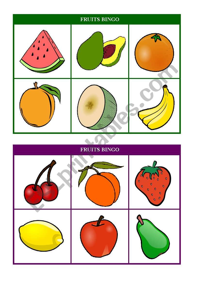 Fruits Bingo Cards 7 8 Of 10 Fully Editable Esl Worksheet By