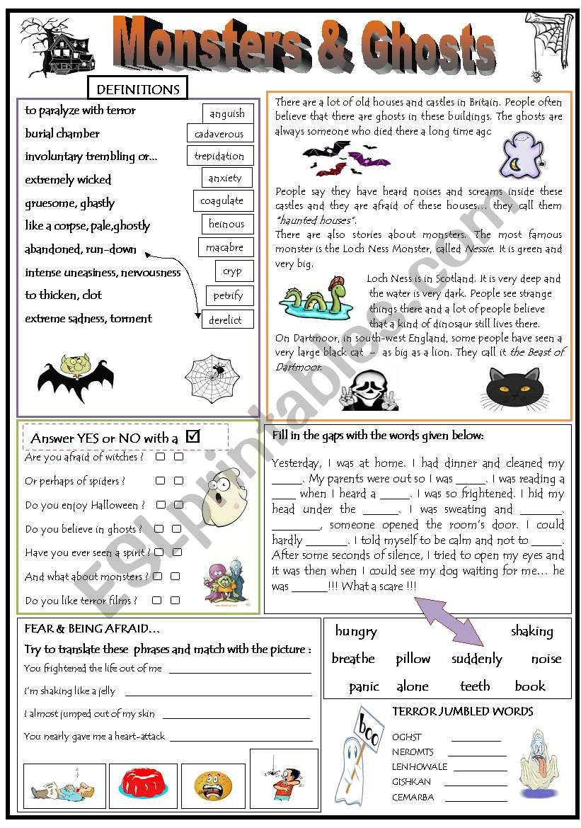 MONSTERS & GHOSTS worksheet