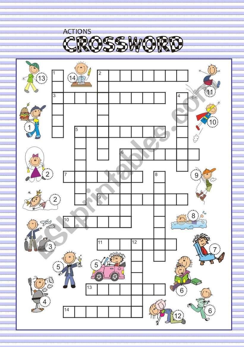 ACTIONS crossword worksheet
