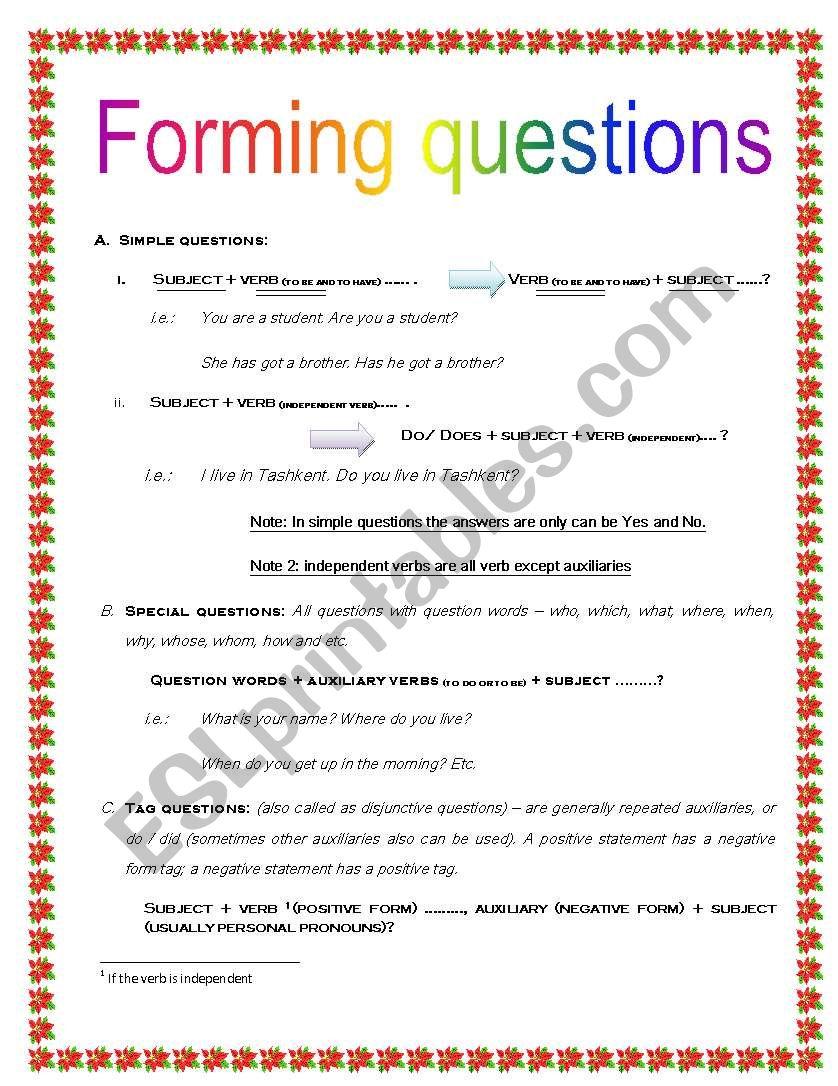 Forming questions (detailed worksheet) - ESL worksheet by ...