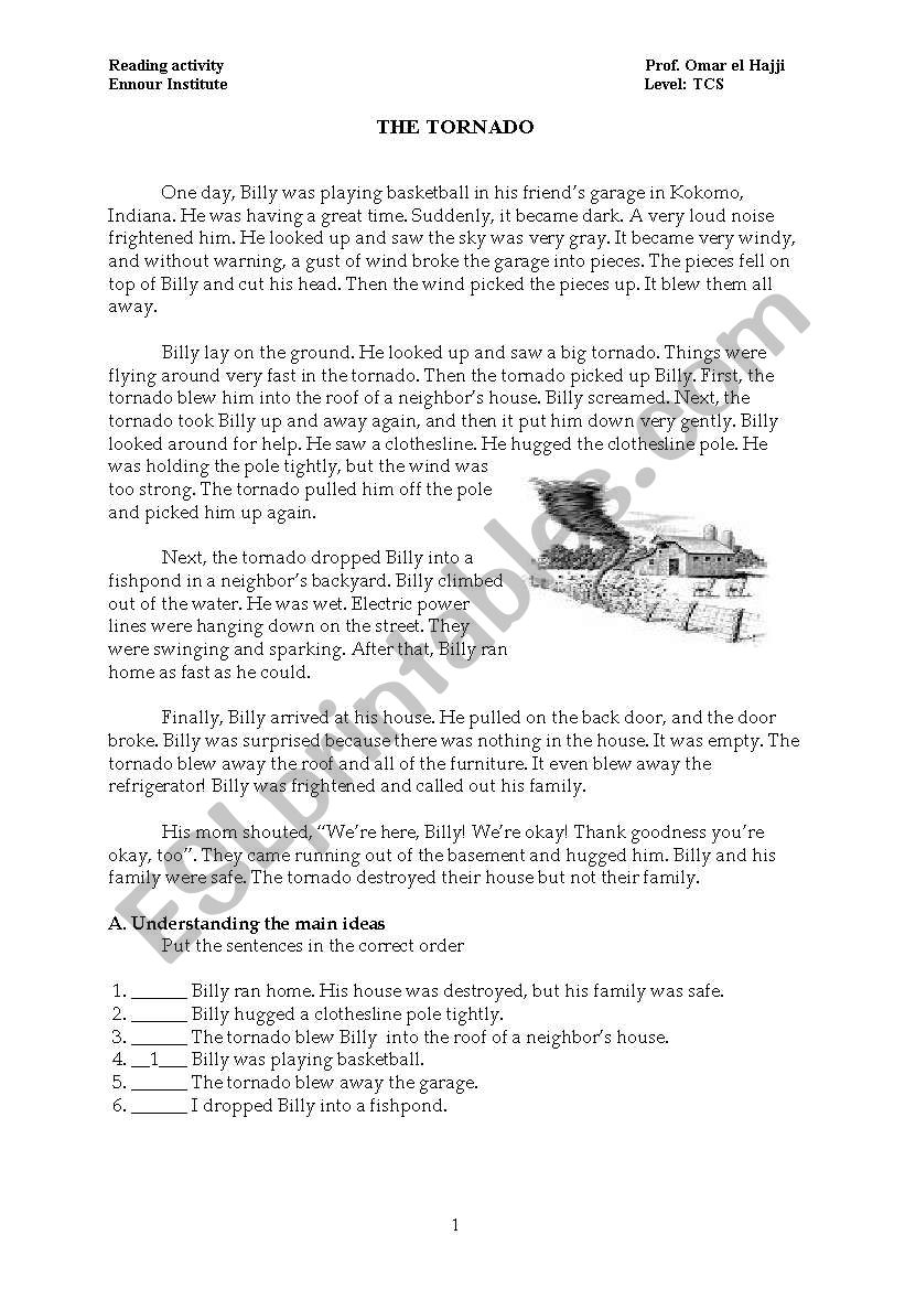 worksheet Tornado Worksheets english worksheets the tornado worksheet