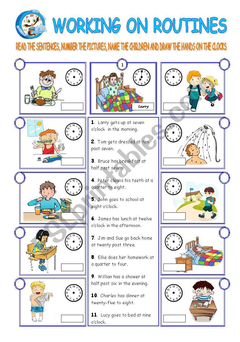 DAILY ROUTINES (2 pages) worksheet