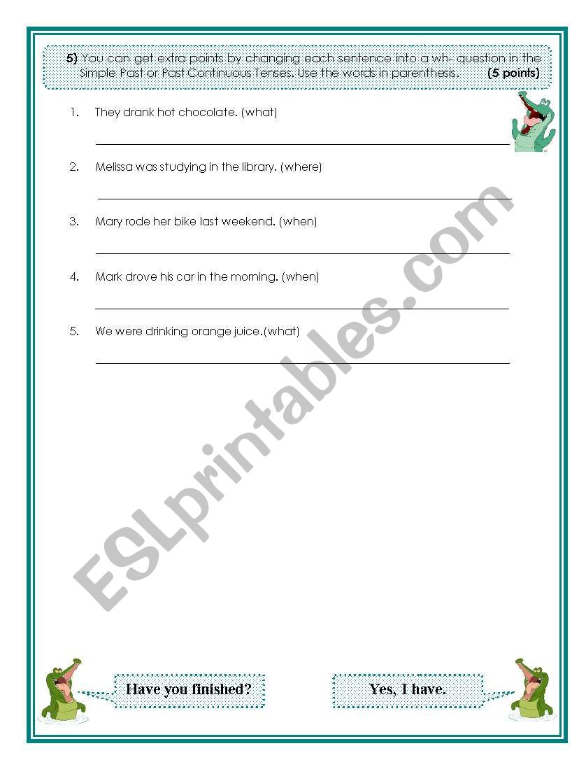 Past Tenses Test 3 worksheet