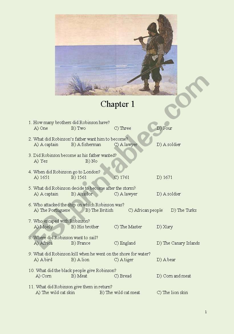 Robinson Crusoe-Chapters 1-4 worksheet