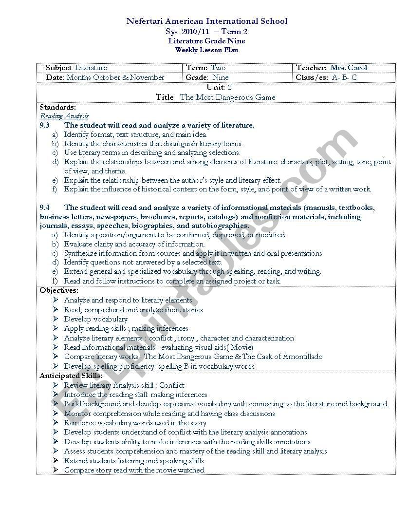 worksheet The Most Dangerous Game Worksheets english worksheets the most dangerous game lesson plan plan