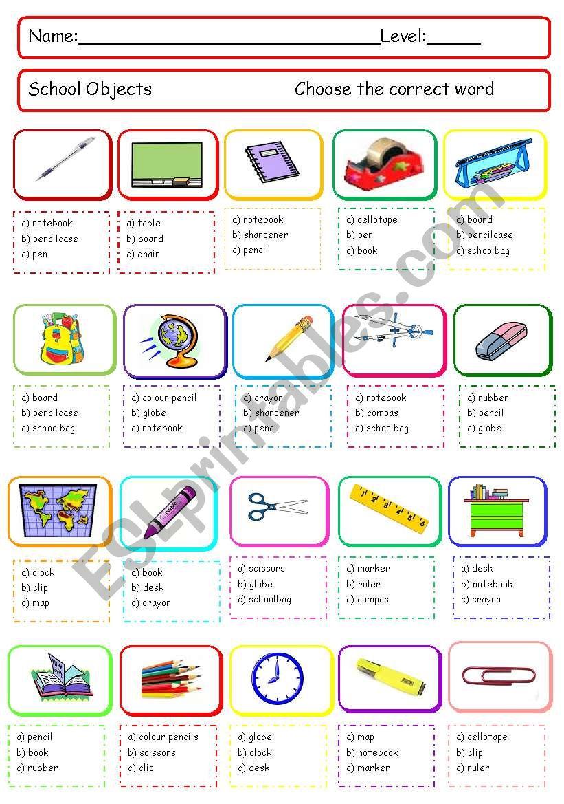 School objects quiz worksheet