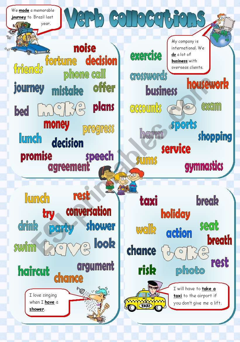 VERB COLLOCATIONS - poster + exercises **3PAGES** (B&W +KEY included)