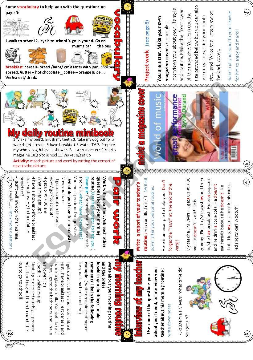 my daily routine minibook worksheet