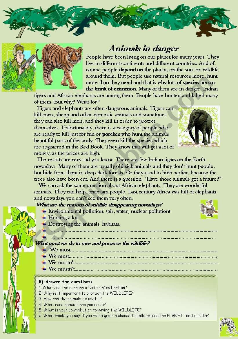 Animals in danger. Reading-comprehension worksheet.