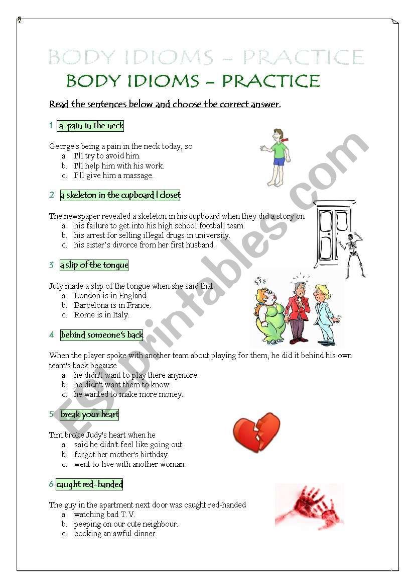 Body Idioms - practice worksheet