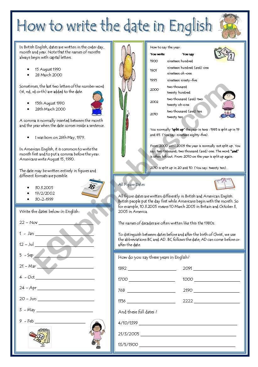 DATES IN ENGLISH worksheet