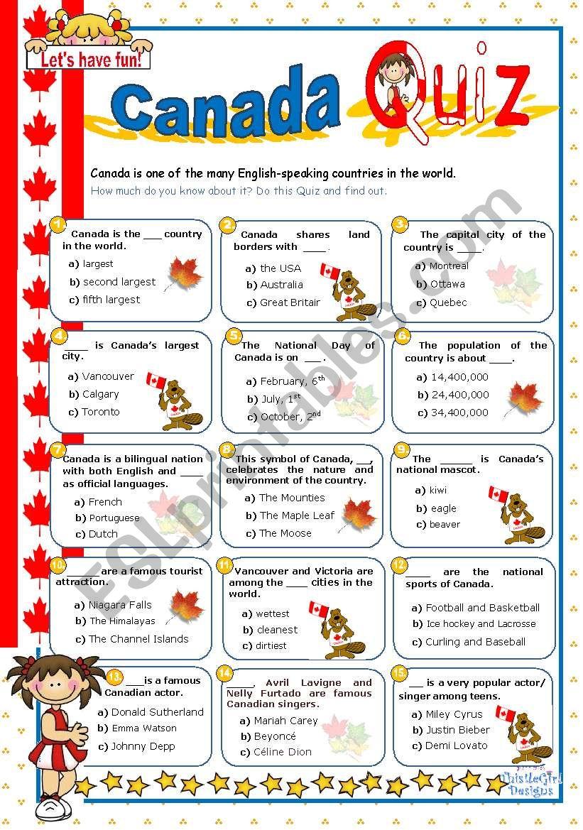 Canada Quiz worksheet