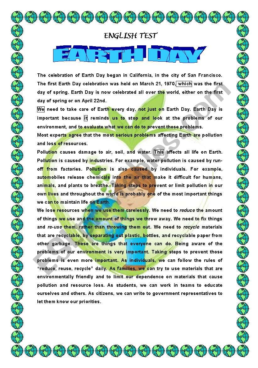 EARTH DAY- READING COMPREHENSION