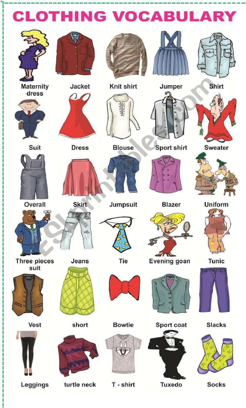 Clothes vocabulary exercises for beginners