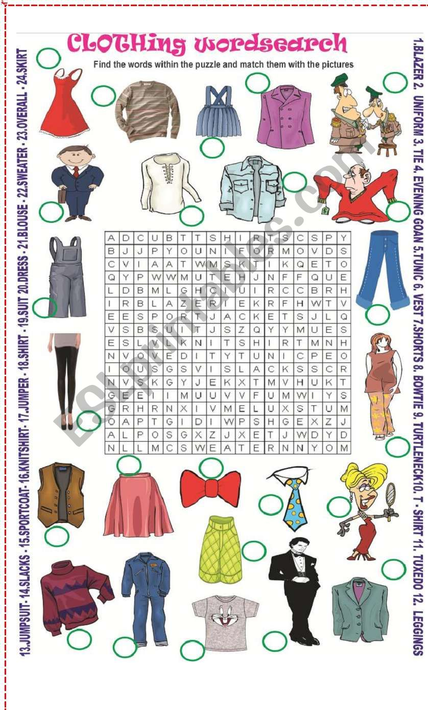 Clothing wordsearch worksheet