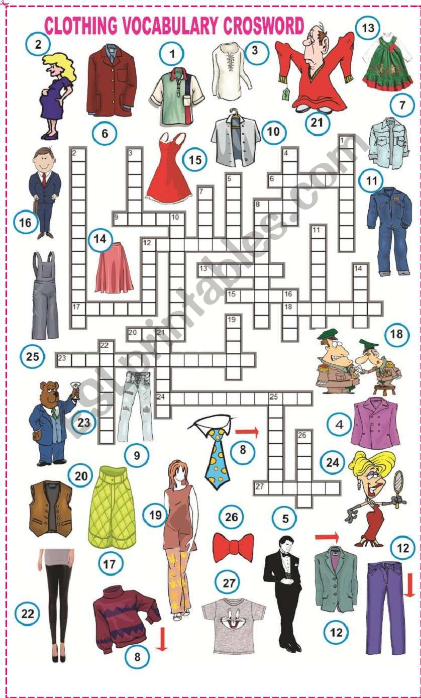 Clothing Vocabulary crossword worksheet