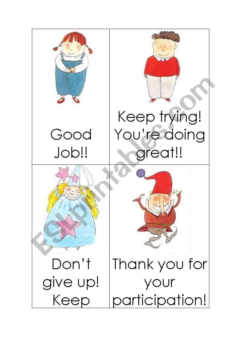 Motivation cards worksheet