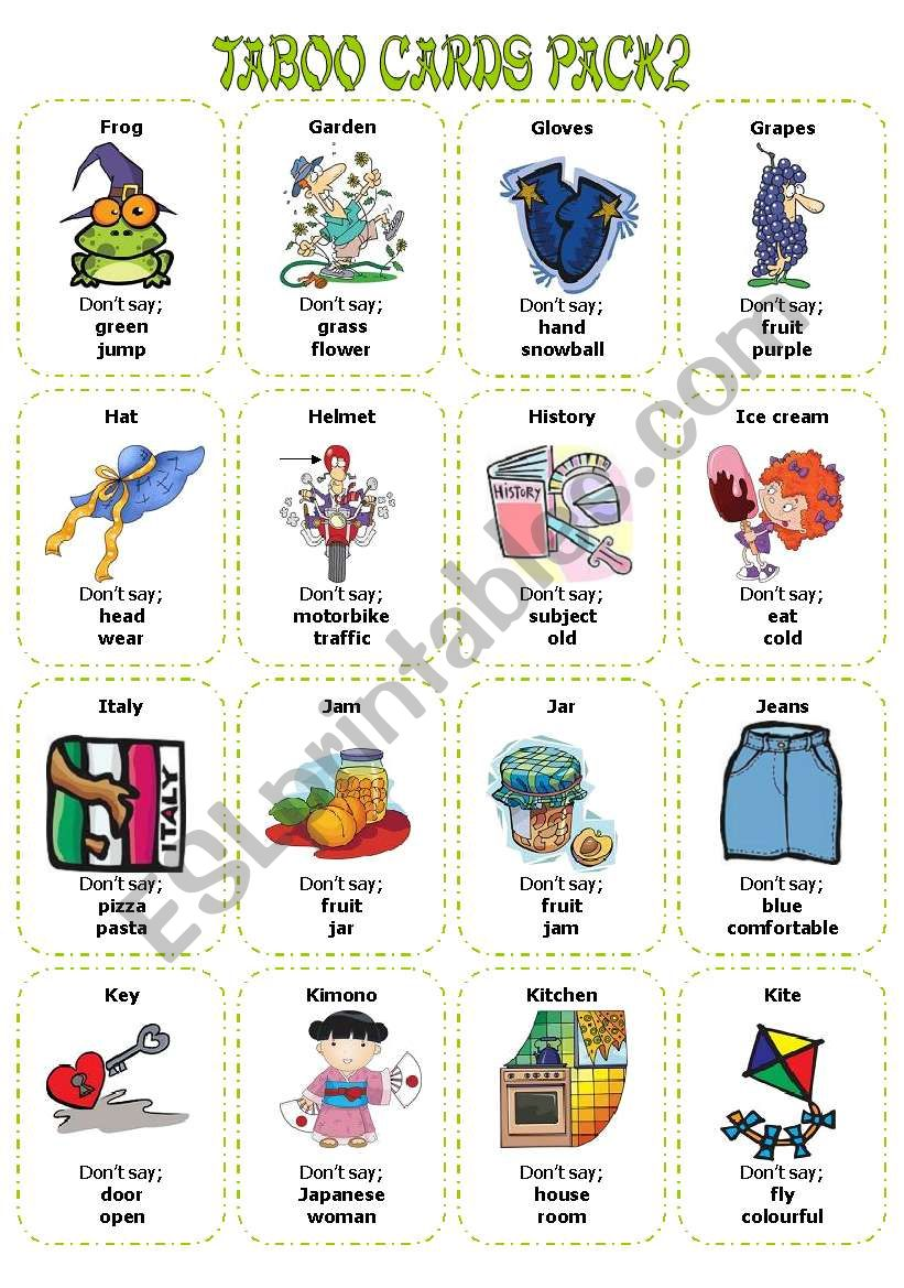 Taboo Cards PAck2 (32 cards) worksheet