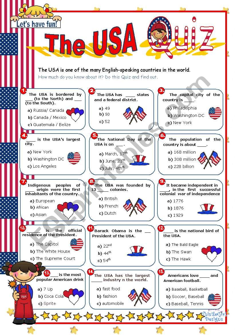 The USA  Quiz worksheet
