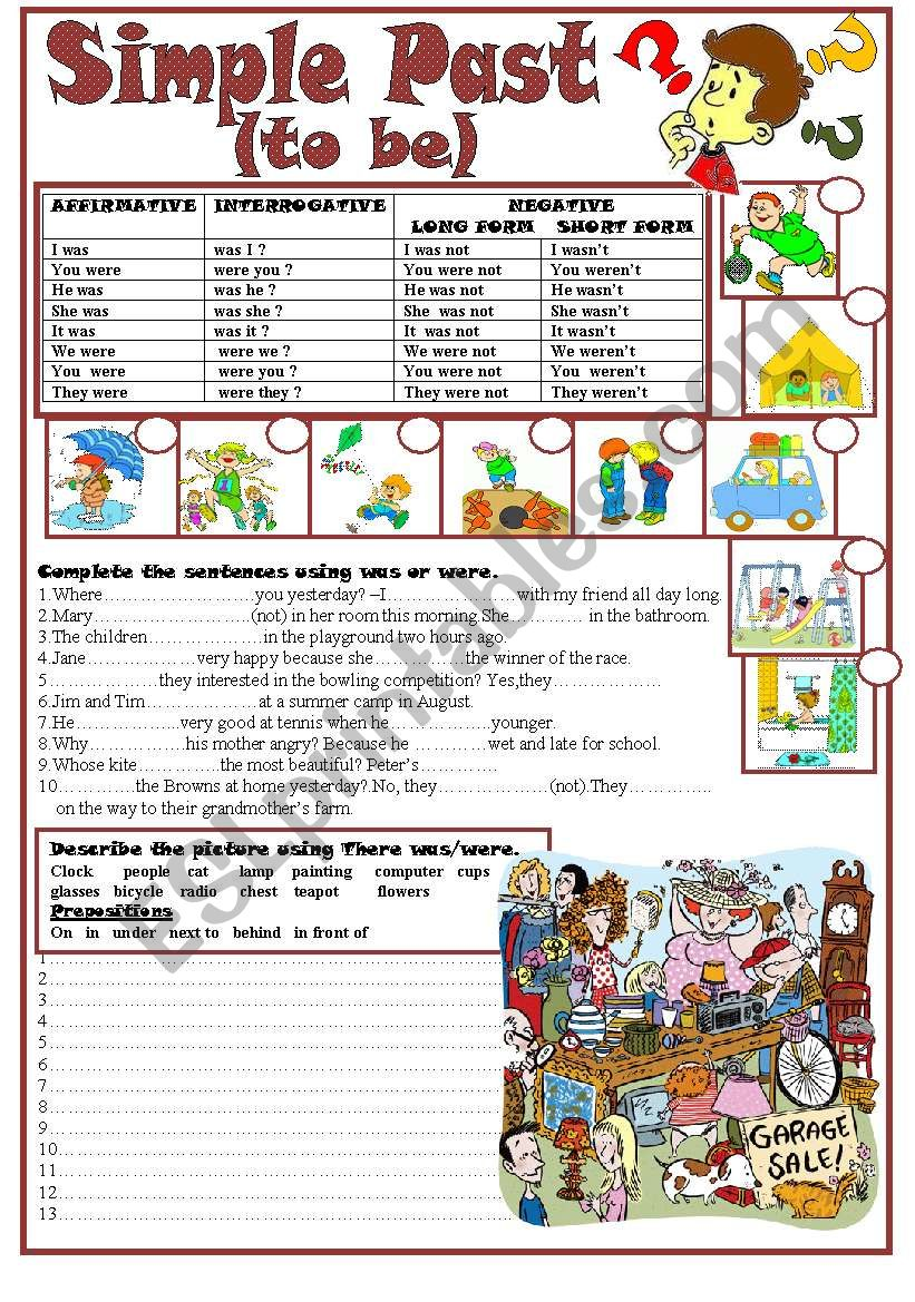 Simple Past(to be) worksheet