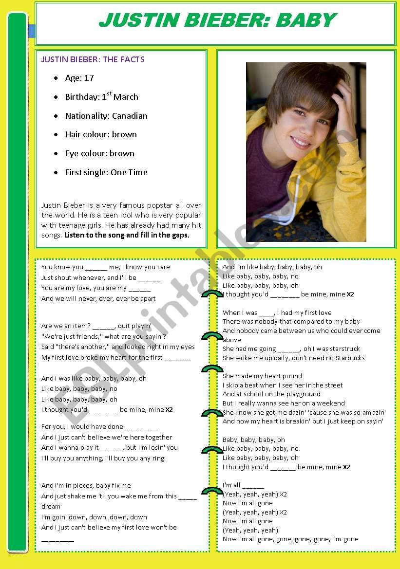 Justin Bieber: Baby worksheet