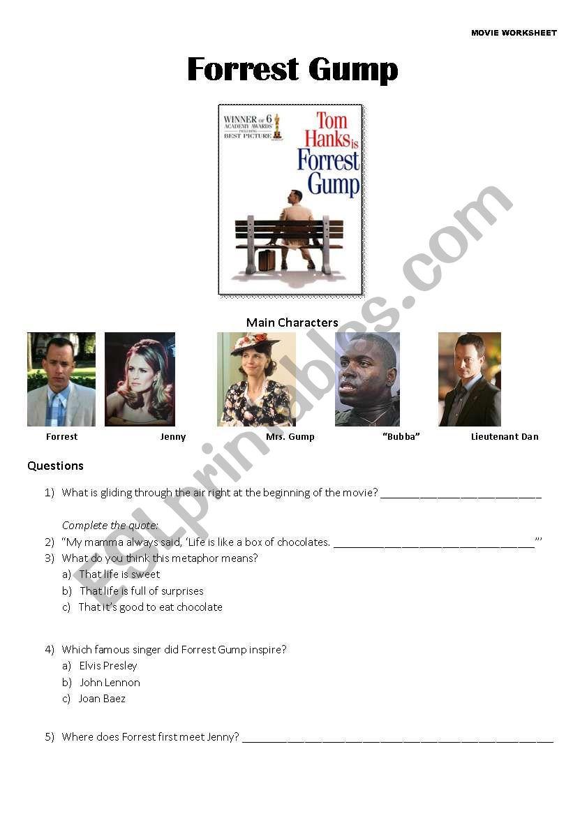 Forrest Gump - Movie Worksheet - ESL worksheet by Kerry Wood