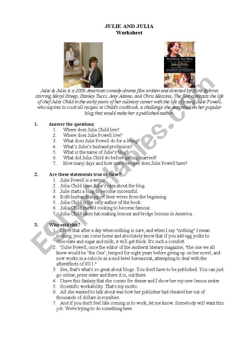Julia and julie esl worksheet by tlustakoala julia and julie worksheet ibookread ePUb