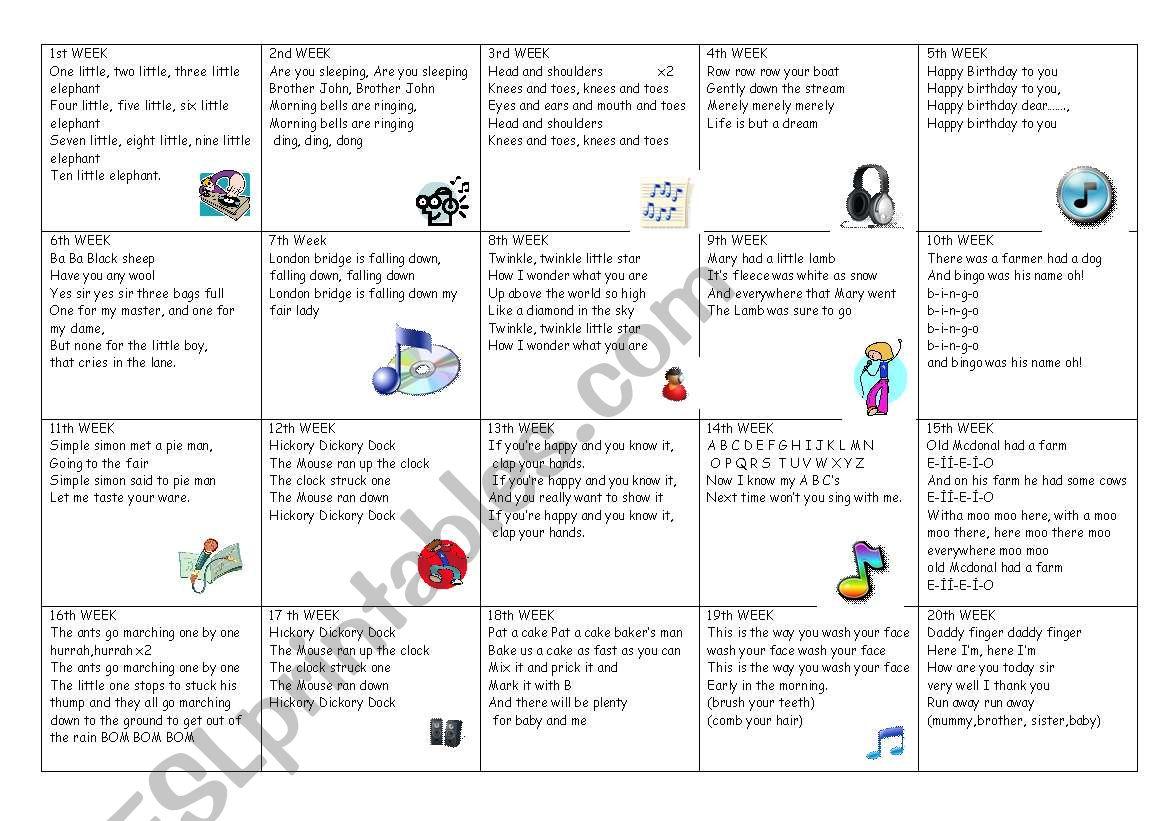 Nursery songs for each week worksheet