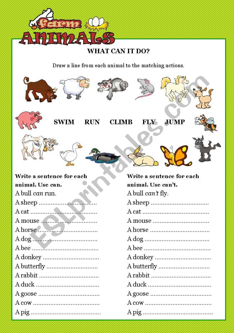 farm animals what can it do esl worksheet by robirimini. Black Bedroom Furniture Sets. Home Design Ideas