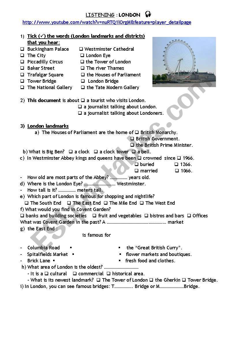 London landmarks (listening) worksheet