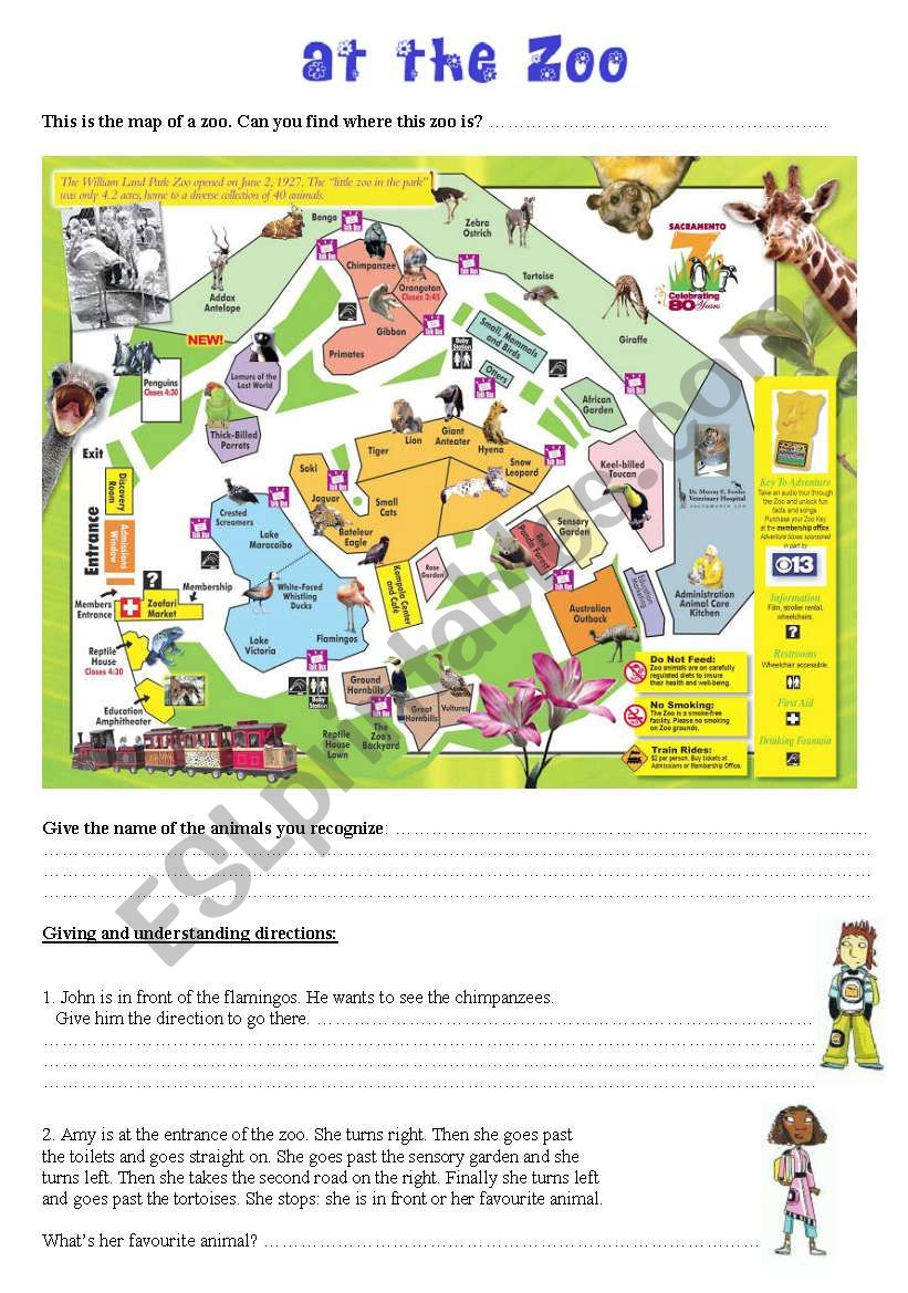 english worksheets at the zoo giving directions. Black Bedroom Furniture Sets. Home Design Ideas
