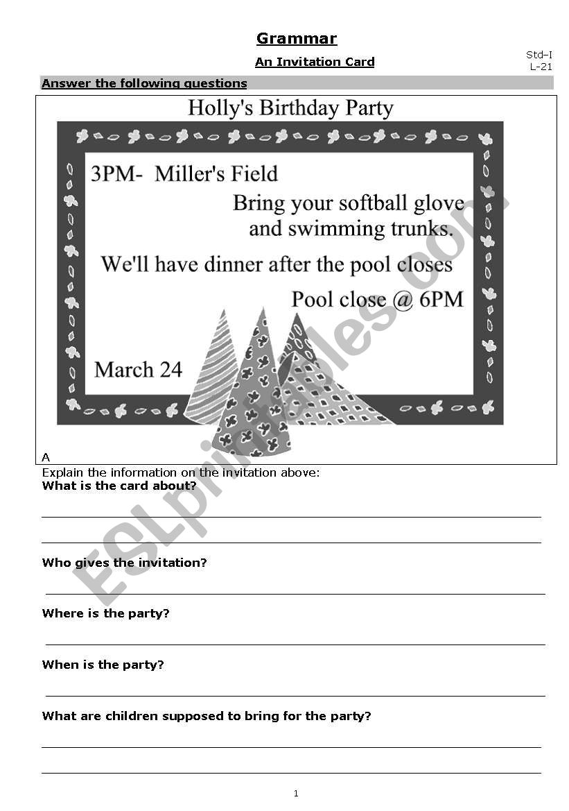 An Invitation Card Esl Worksheet By 1pppp1