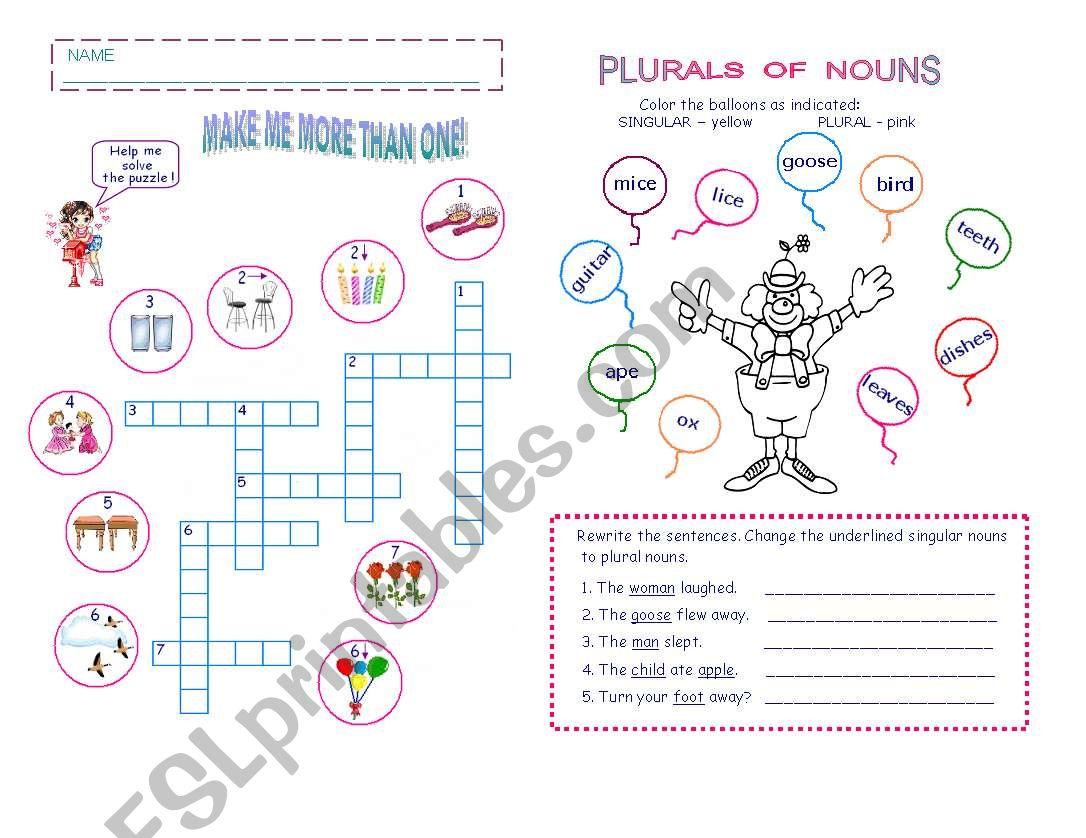 PLURALS OF NOUNS worksheet