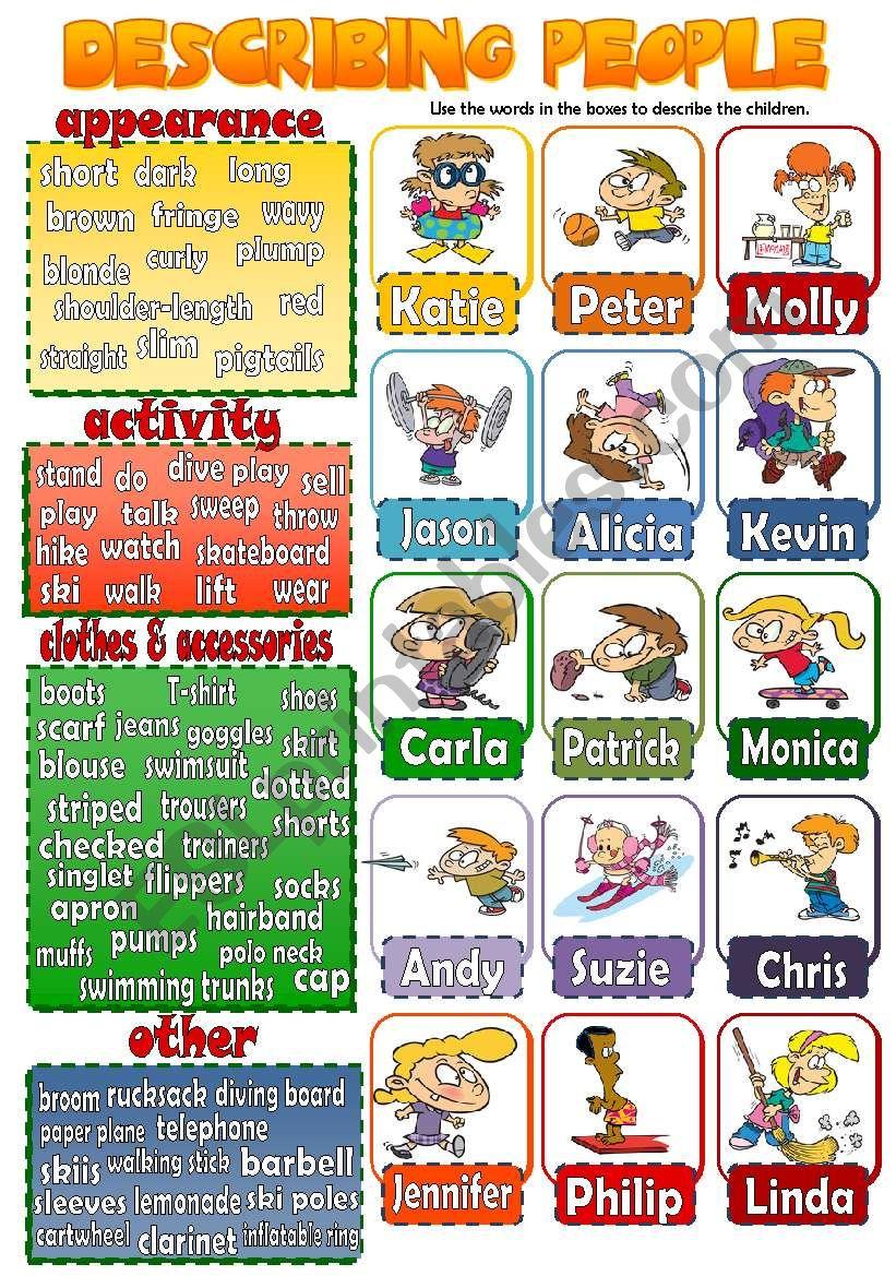 DESCRIBING PEOPLE 3 (children) *speaking activity*