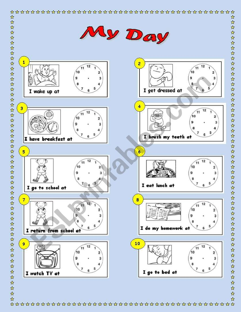 my day time daily routine esl worksheet by lanina. Black Bedroom Furniture Sets. Home Design Ideas