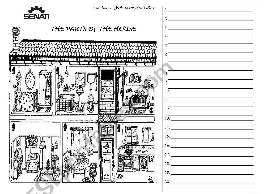 Describing parts of the house worksheet