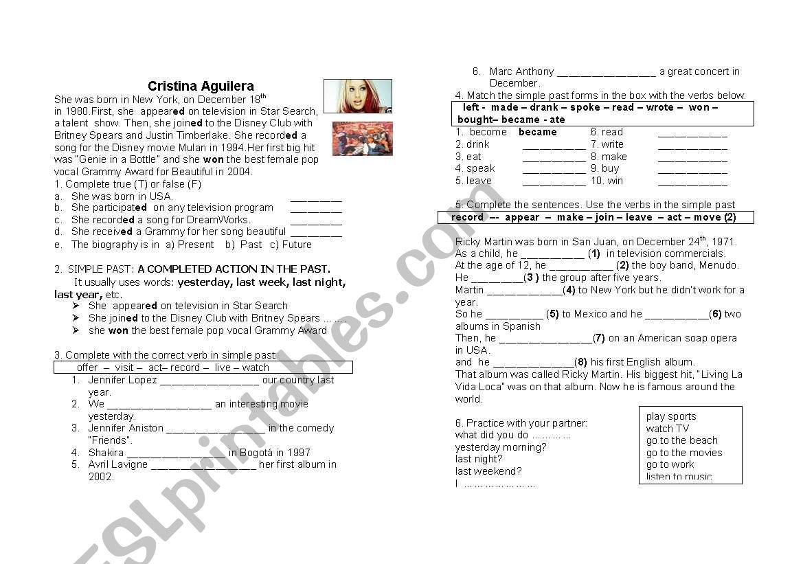 Biography of a famous person worksheet