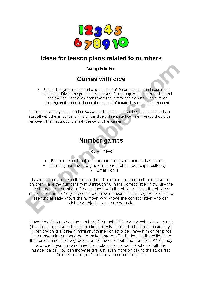 Number games worksheet
