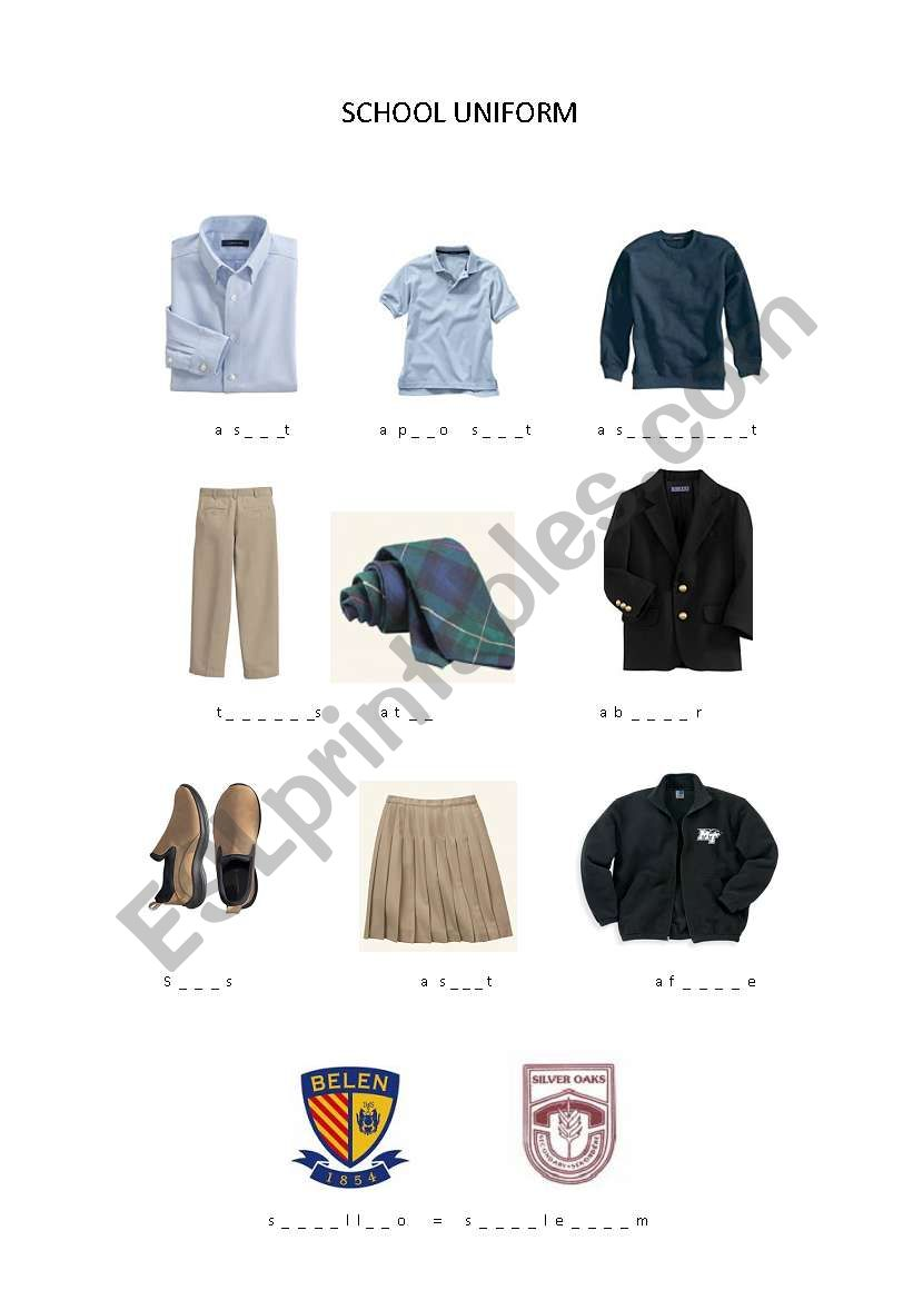 english worksheets  school uniform