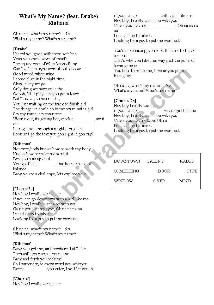 What´s my name -  Rihana worksheet