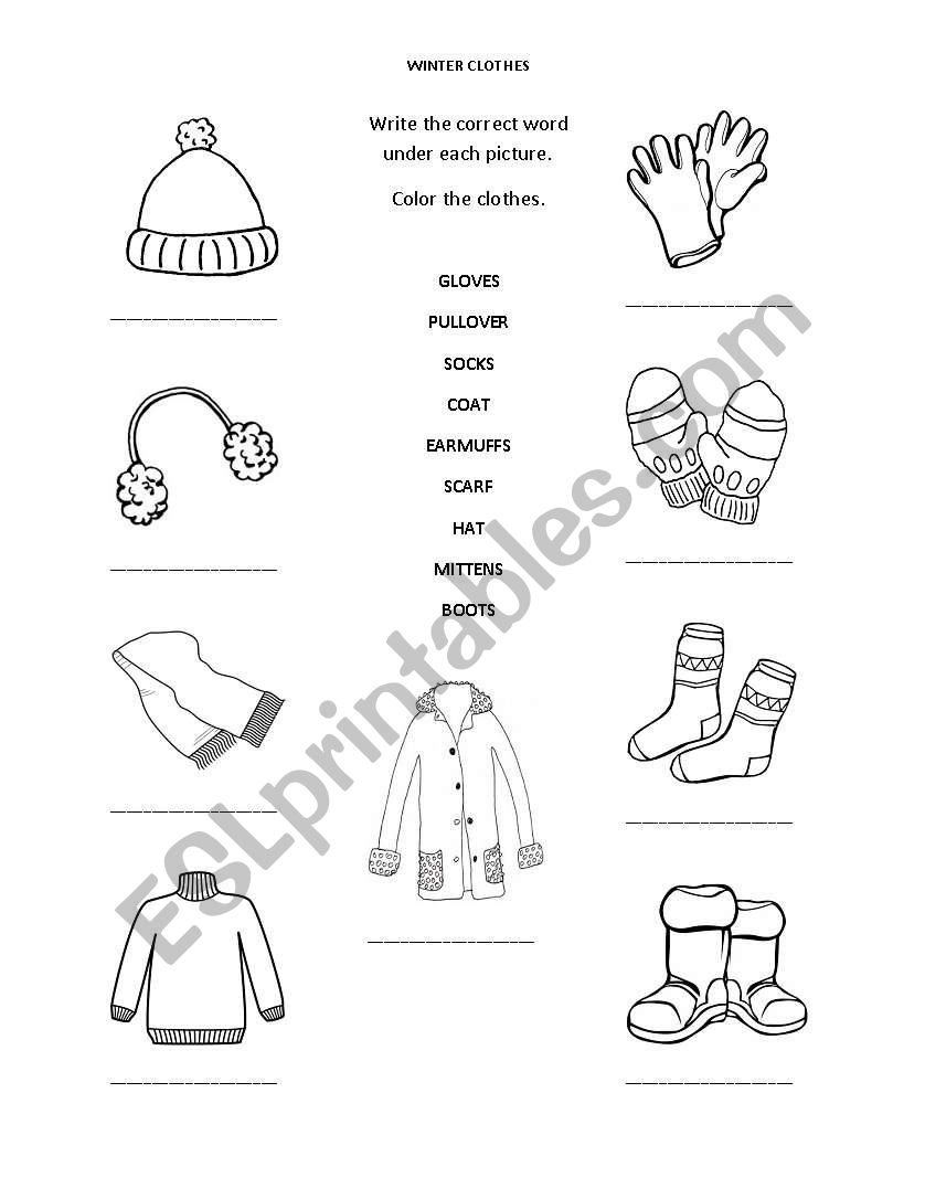 winter clothes esl worksheet by christietakacs. Black Bedroom Furniture Sets. Home Design Ideas
