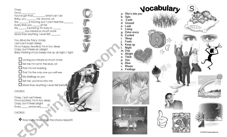 Crazy by Britney Spears worksheet