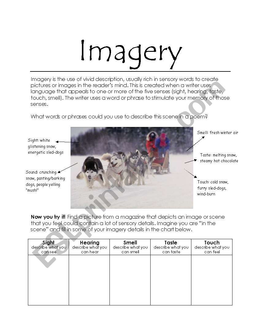 Worksheets Imagery Worksheet imagery esl worksheet by katie tina worksheet
